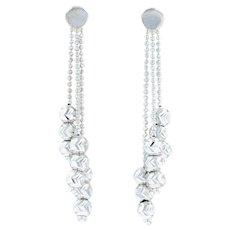 Dangle Bead Earrings - 14k White Gold Pierced Stick Posts Butterfly Backs