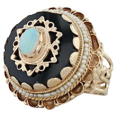 Victorian Style Opal Glass Pearl Ring - 14k Gold Size 8 Tiered Cocktail Openwork