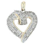 .55ctw Diamond Open Heart Pendant - 10k Yellow & White Gold Baguettes