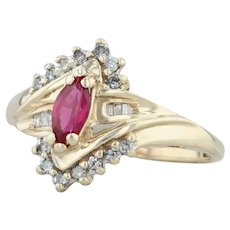 .73ctw Synthetic Marquise Ruby & Diamond Bypass Ring - 10k Yellow Gold Size 9.5