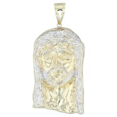 Large Jesus Bust Pendant - 10k Yellow White Gold Religious Statement Jewelry