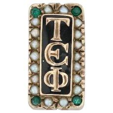 Tau Epsilon Phi Badge - 10k Gold Pearl Emerald Fraternity TEP Pin Greek Member
