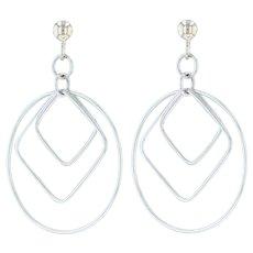 Circle & Squares Dangle Earrings - 14k White Gold Pierced Geometric Drop