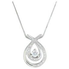 ".47ctw Diamond Ribbon Pendant Necklace - 14k White Gold 18""-20"" Box Chain"