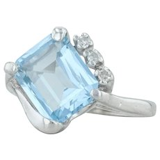 3.30ctw Synthetic Blue Spinel & Diamond Ring - 10k White Gold Size 5.5 Cocktail