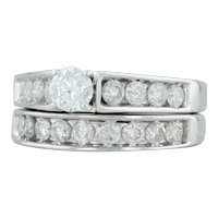 1.35ctw Diamond Engagement Ring & Wedding Band Set- 14k White Gold Size 6.5-6.75