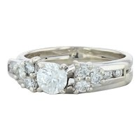 .85ctw Round Diamond Engagement Ring & Wedding Band- 14k Gold Size 6-6.25 Bridal