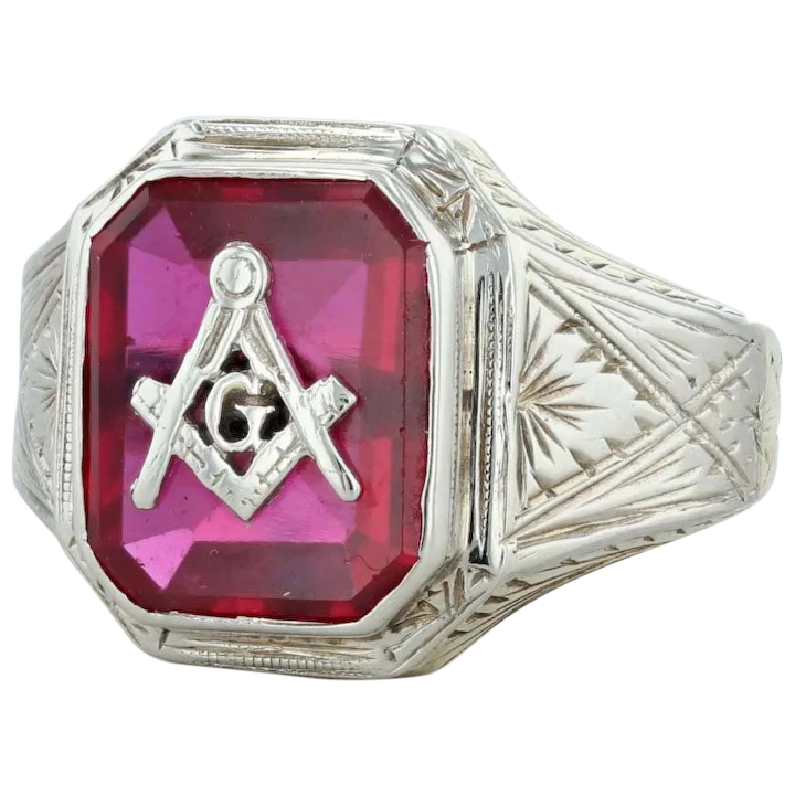 Masonic Ring - 10k White Gold Size 9 25 Square Compass Synthetic Ruby Blue  Lodge