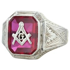 Masonic Ring - 10k White Gold Size 9.25 Square Compass Synthetic Ruby Blue Lodge