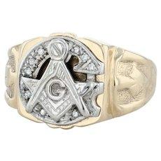 Masonic Diamond Signet Ring - 14k Gold Size 11 Square Compass Blue Lodge Vintage