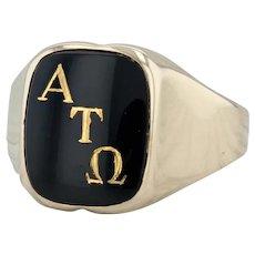 Alpha Tau Omega Ring - 10k Yellow Gold Size 11.25-11.5 Fraternity Onyx Signet