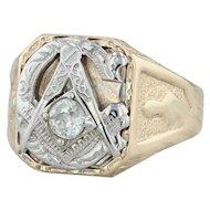 .30ct Diamond Masonic Ring - 10k Gold Blue Lodge Masonry Signet Vintage Men's