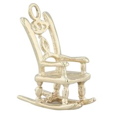 Rocking Chair Charm - 14k Yellow Gold 3D Openwork