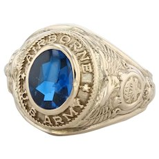 U.S. Army Airborne Men's Ring - 10k Yellow Gold Size 8 Blue Signet Military