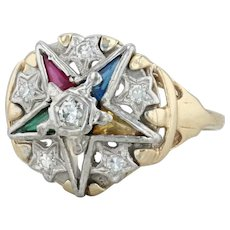 .15ctw Diamond Order of the Eastern Star Ring - 14k Gold Size 8.25 OES Women's
