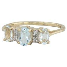 .80ctw Aquamarine Three Stone Ring - 10k Yellow Gold Size 6.5 Diamond Accents