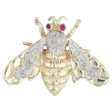 Ruby & Diamond Bee Brooch - 10k Yellow & White Gold Bug Insect Pin Vintage