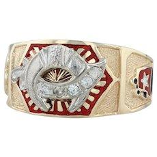 Shriners Signet Ring - 10k Gold Size 11.5 Diamonds Fez Crescent Scimitar Masonic