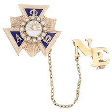 Alpha Phi Omega Badge - 10k Gold Pearls Officer Co-Ed Service Fraternity Pin