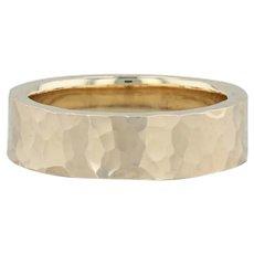 Custom Hand Hammered Ring - 14k Yellow Gold Size 9.5 Band Wedding