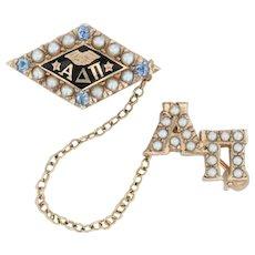 Alpha Delta Pi Badge - 10k Gold Pearls Sapphires ADPi Greek Sorority Pin