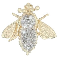 .20ctw Diamond Bumble Bee Brooch - 14k Gold Jeweled Insect Pin