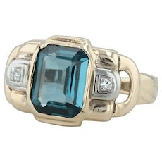 4.03ctw Synthetic Blue Spinel & Diamond Ring - 10k Gold Size 9.25 Cocktail