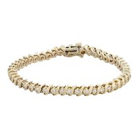 "1.85ctw Diamond Tennis Bracelet - 14k Yellow Gold 6.75"" 5mm S-Link Chain"