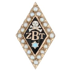 Zeta Beta Tau Skull Badge - 10k Gold Pearls Fraternity Pin Vintage Greek