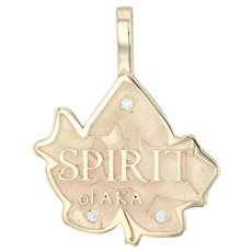 Alpha Kappa Alpha Pendant - 14k Yellow Gold Diamonds Spirit Leaf Greek Sorority