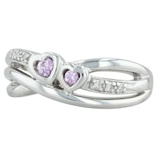 .16ctw Pink Synthetic Sapphire Hearts Ring - 10k White Gold Size 7.5 Diamonds