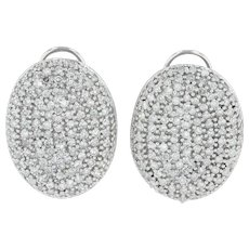 2ctw Diamond Oval Cluster Earrings- 14k White Gold Pierced Statement Omega backs
