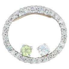 .67ctw Diamond Circle Peridot Synthetic Sapphire Pendant - 14k Gold 2-Toned