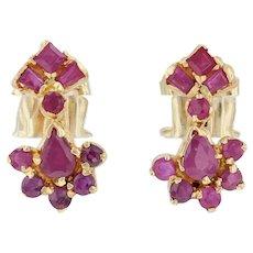 1.20ctw Ruby Cluster Earrings - 22k 18k Yellow Gold Pierced Drop Dangle