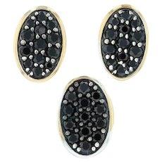 Black CZ Pendant & Earrings Set - 18k Yellow Gold Cubic Zirconia Studs