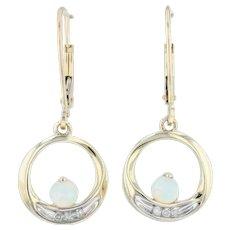 Synthetic Opal & Diamond Dangle Earrings - 10k Yellow Gold Pierced Lever Back