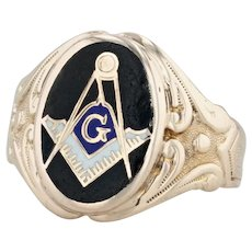 Antique Masonic Ring - 10k Yellow Gold Size 7.75 Blue Lodge Signet AS IS