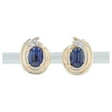Blue Sapphire & Diamond Stud Earrings - 14k Yellow Gold Pierced