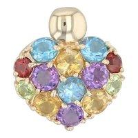 2.60ctw Gemstone Heart Pendant - 14k Gold Topaz Amethyst Citrine Garnet Peridot