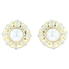 Mabe Pearl & Diamond Statement Earrings - 18k Yellow Gold Clip-On Omega Backs