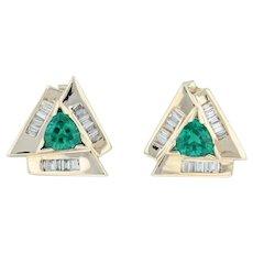 1.14ctw Synthetic Emerald & Diamond Earrings - 14k Yellow Gold Pierced