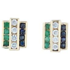 2.78ctw Emerald CZ Sapphire Earrings - 14k Yellow Gold Pierced Gemstone