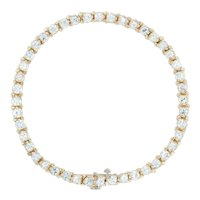 "7ctw Zircon Tennis Bracelet - 14k Yellow Gold 7"" 4.1mm Round Brilliant Colorless"