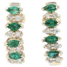 1.02ctw Emerald & Diamond Journey Earrings - 14k Yellow Gold Pierced Drop