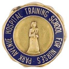 Vintage Nursing School Pin - 10k Gold Park Avenue Hospital Medical Memorabilia