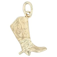 Cowboy Boot Charm - 14k Yellow Gold Western Fashion 3D Pendant