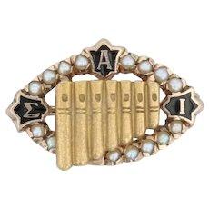 Sigma Alpha Iota Badge - 10k Yellow Gold Pearls Music Fraternity Pan Pipes Pin