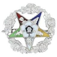 Order Eastern Star Pin - 14k White Gold Rose Wreath Masonic Women OES
