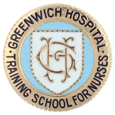 Greenwich Hospital Nursing School Pin - 10k Gold Vintage Medical Alumni Keepsake
