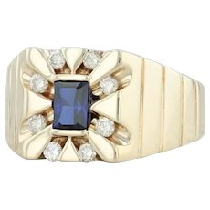 1.07ctw Synthetic Blue Sapphire & Diamond Halo Ring - 10k Yellow Gold Size 11.25